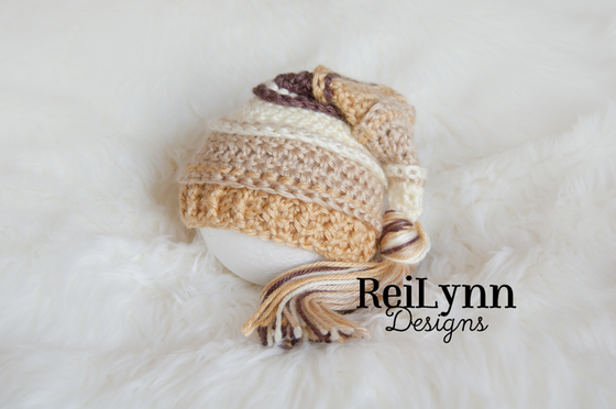 Image of Ivory, Bone, Gold and Taupe Tassel Hat