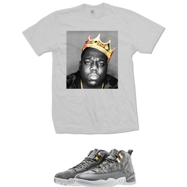 Image of BIGGIE CROWN RETRO 12 WOLF GREY T SHIRT - GREY