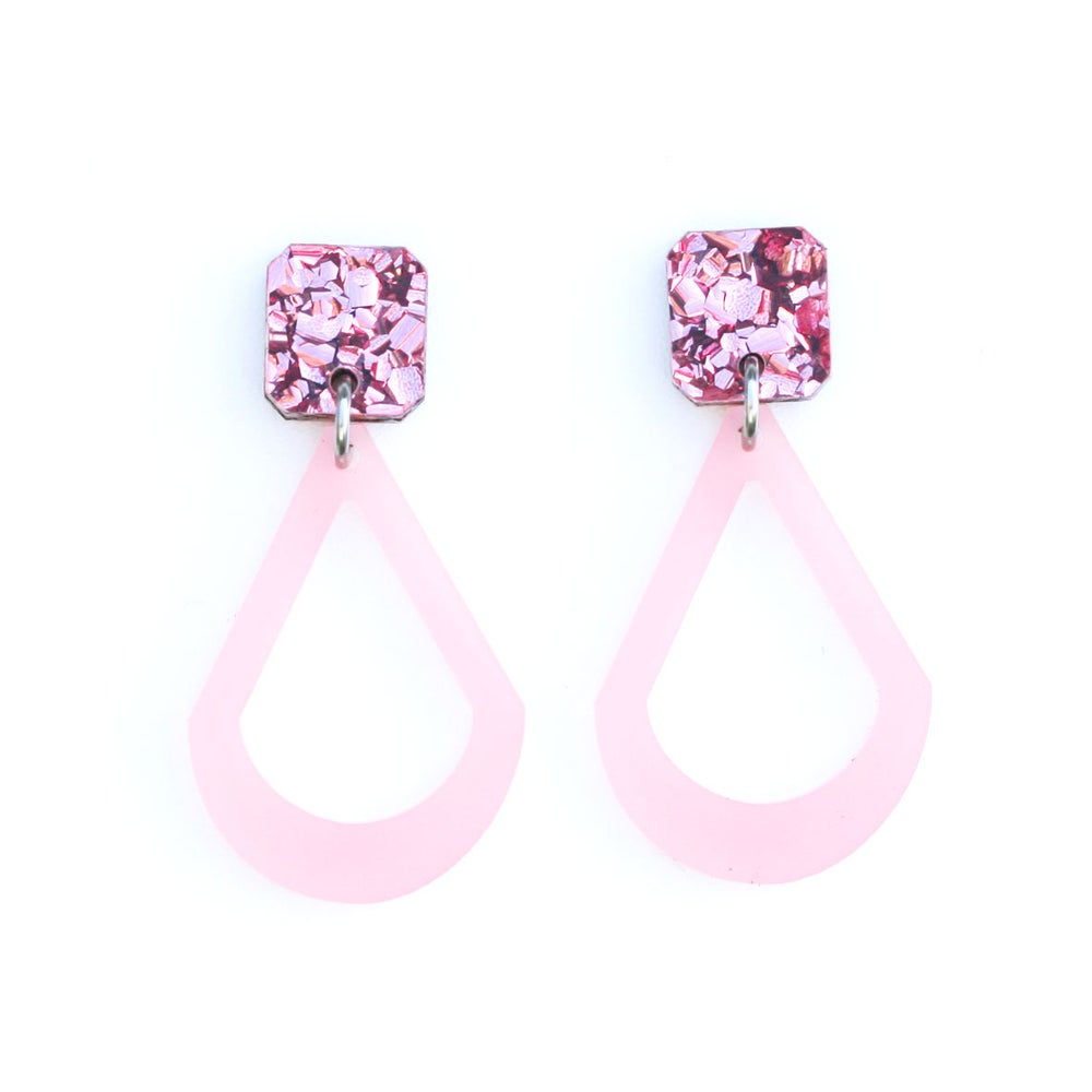 Image of Raindrop Earrings - Pink