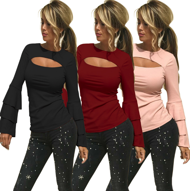 Image of The new round neckline is a sleeved blouses
