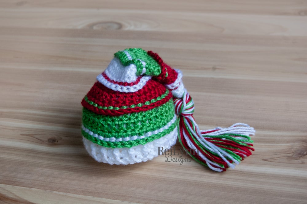 Image of Holiday Cheer Tassel Hat- White, Red and Green