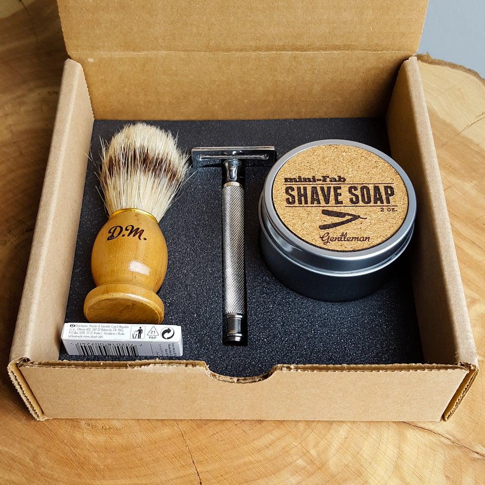 Image of Shave Kit - Safety Razor - Personalized Shaving Set with Razor, Brush,  Razor Blades, & Gift Box