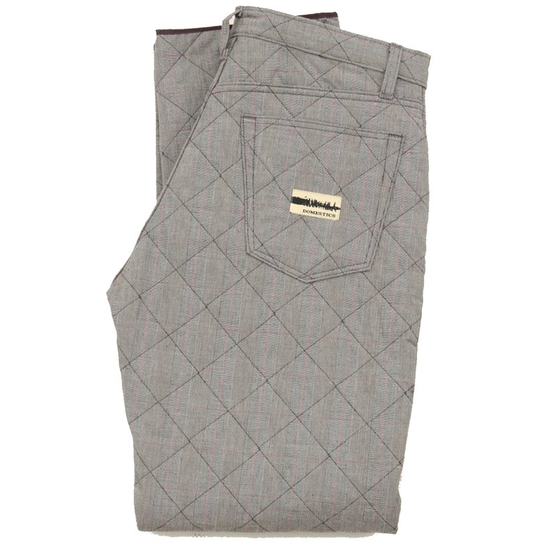 Image of MADE IN USA DOMEstics. Grey Diamond Quilted Pants