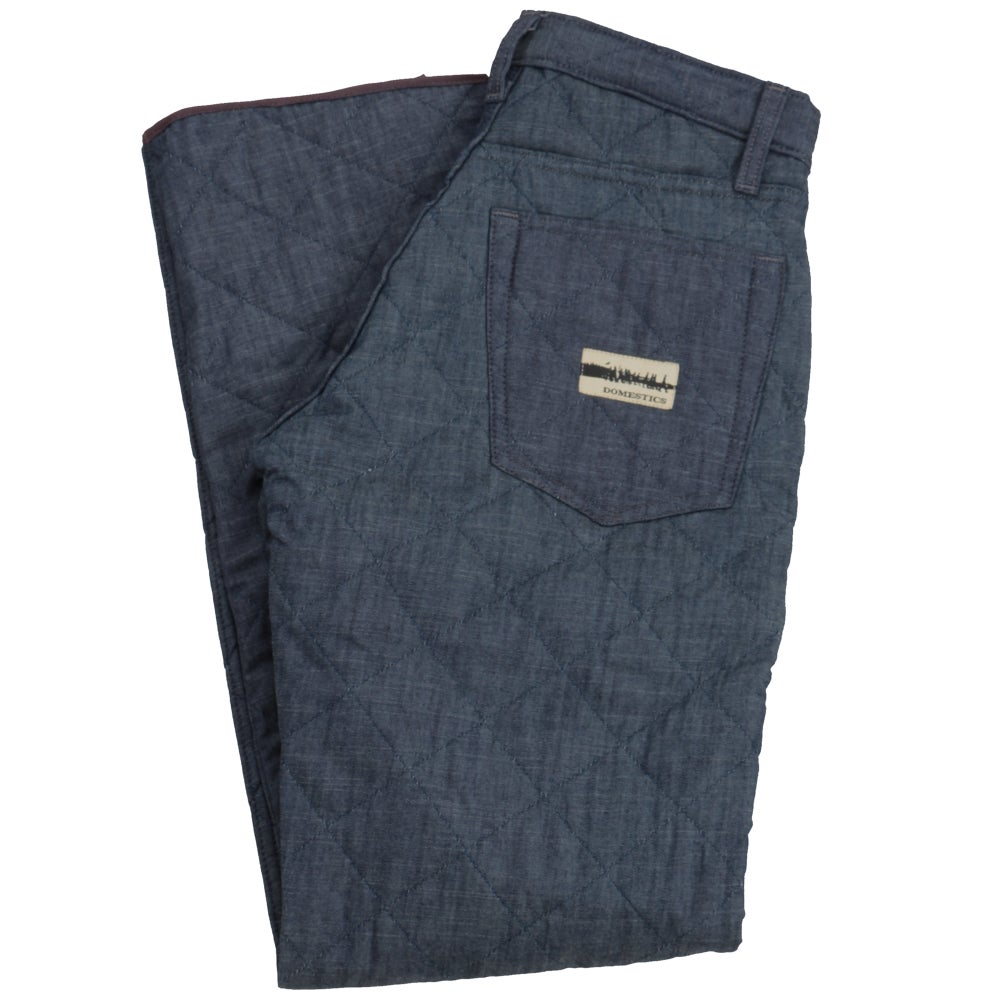 Image of MADE IN USA DOMEstics Diamond Quilted Chambray Pants