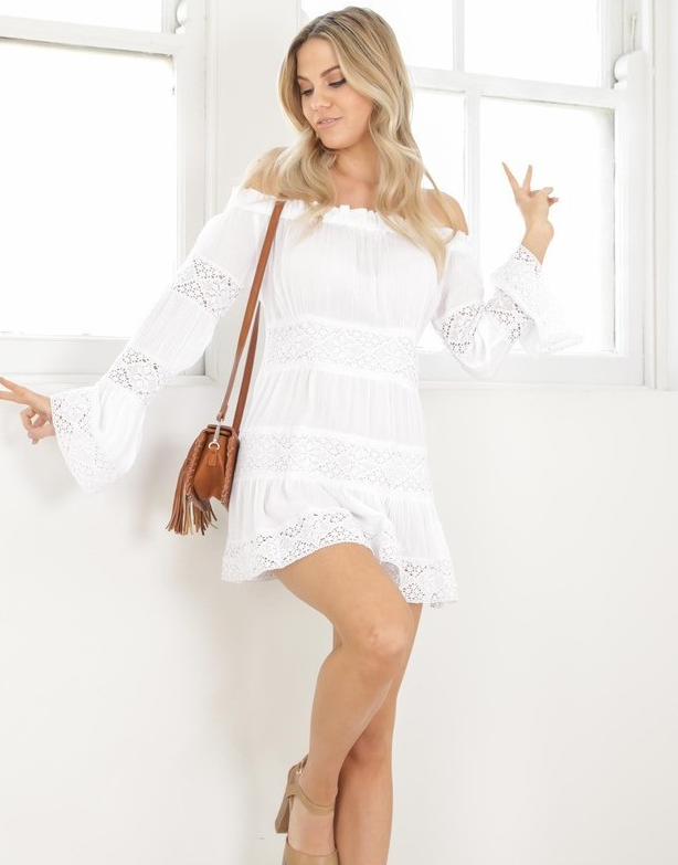 Image of Hot style lace lace spliced one-shoulder dress