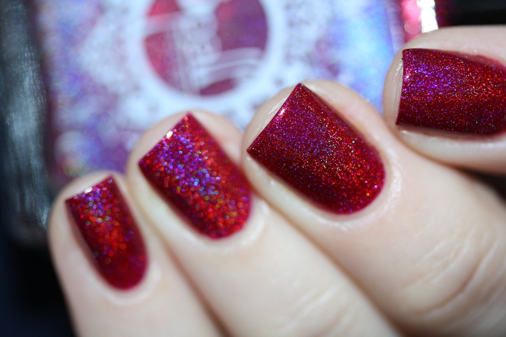 Image of ~Gadfly~ rich boysenberry pink/purple linear holo nail polish Duds III!