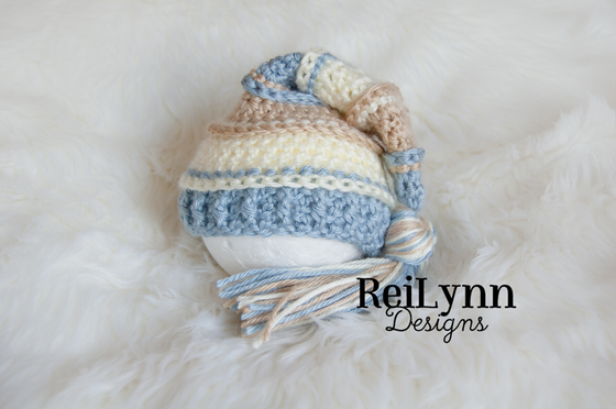 Image of Light Country Blue, Bone and Ivory Tassel Hat