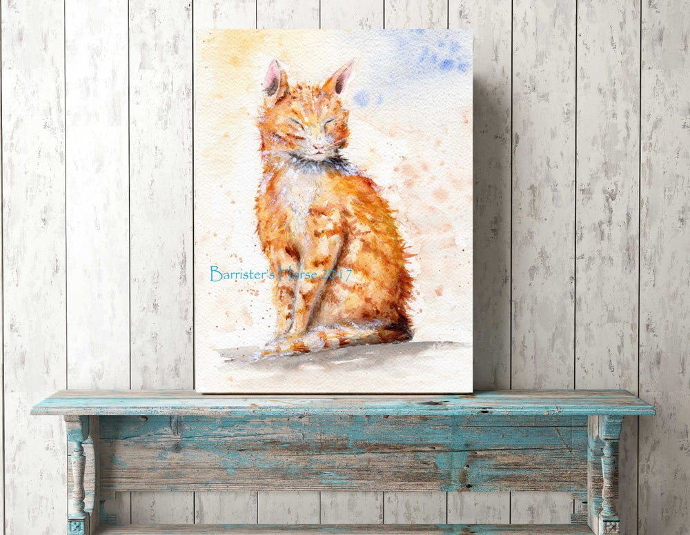 Image of GINGER CAT, WATERCOLOUR FINE ART PRINTS