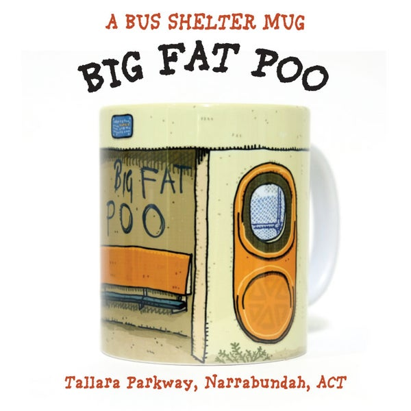 Image of BIG FAT POO BUS STOP MUG
