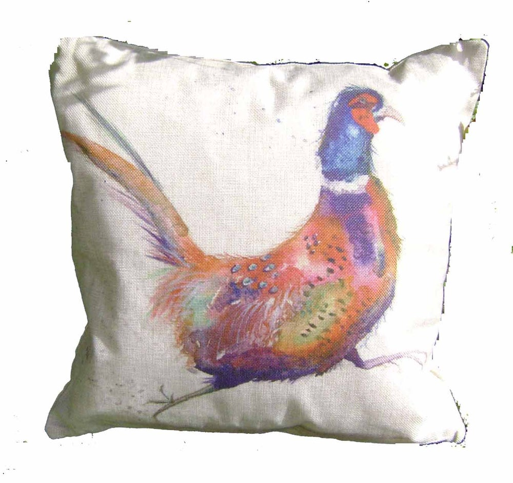 "Image of RUNNING PHEASANT LINEN/CANVAS BLEND CUSHION COVER 17"" x 17"""