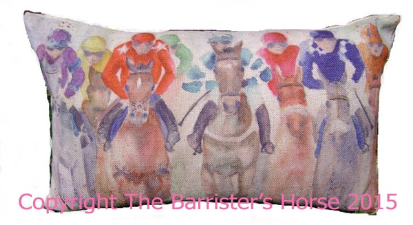 "Image of HORSE RACING LINEN/CANVAS BLEND CUSHION COVER 20"" x 12"""