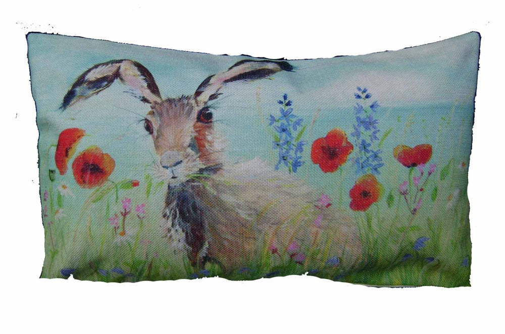 "Image of MEADOW HARE LINEN/CANVAS BLEND CUSHION COVER 20"" x 12"""