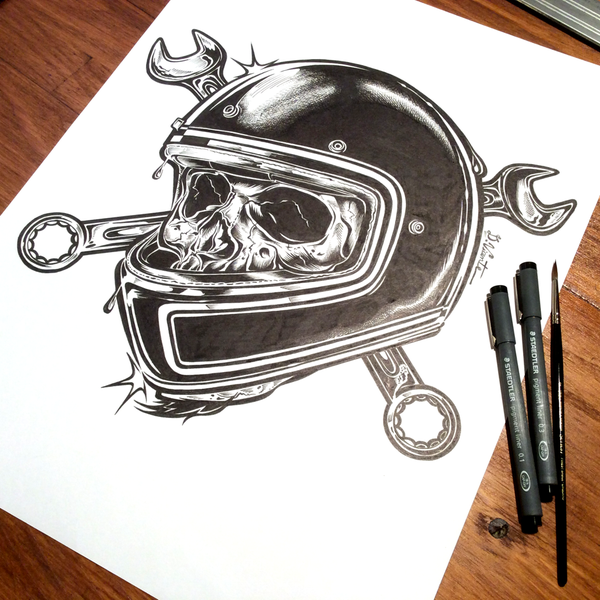 Image of DEATHTRAP SKULL - Ink on paper
