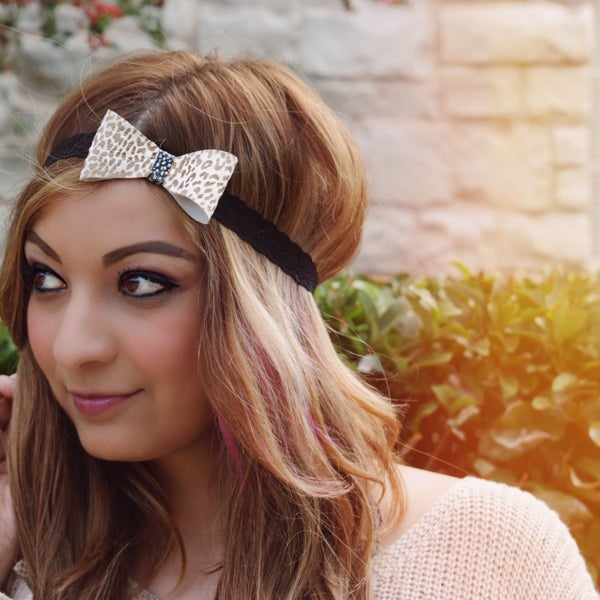Image of the lil' leather bow- cheetah print bow headband