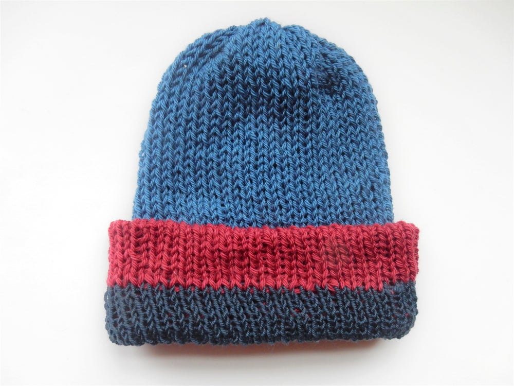 Image of Blue and Red Mix Snuggle Beanie