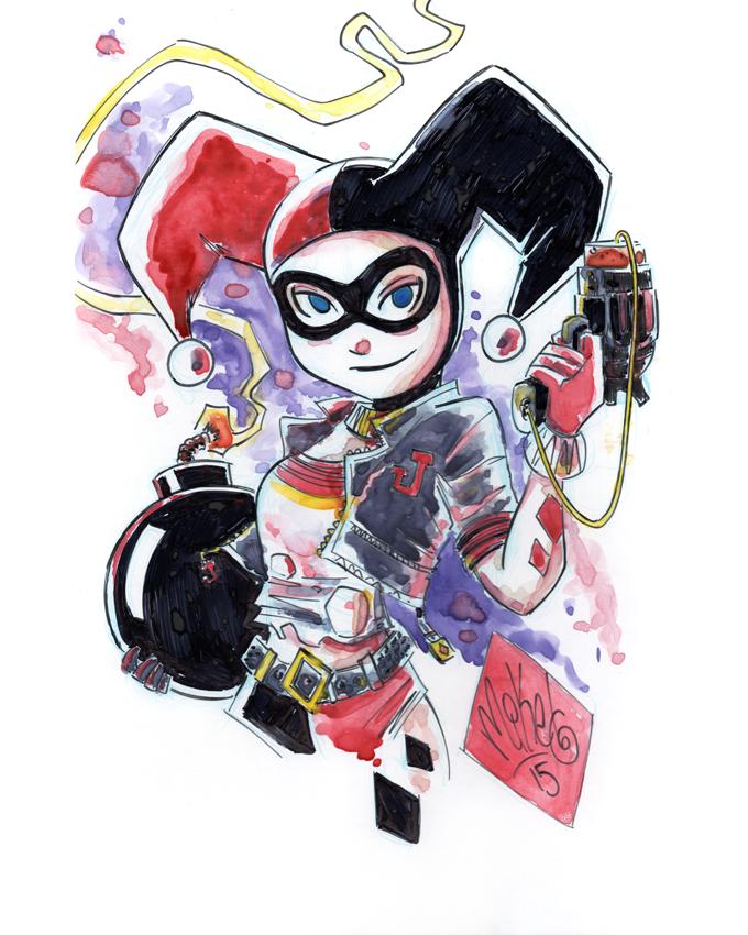 Image of Harley Quinn Watercolor