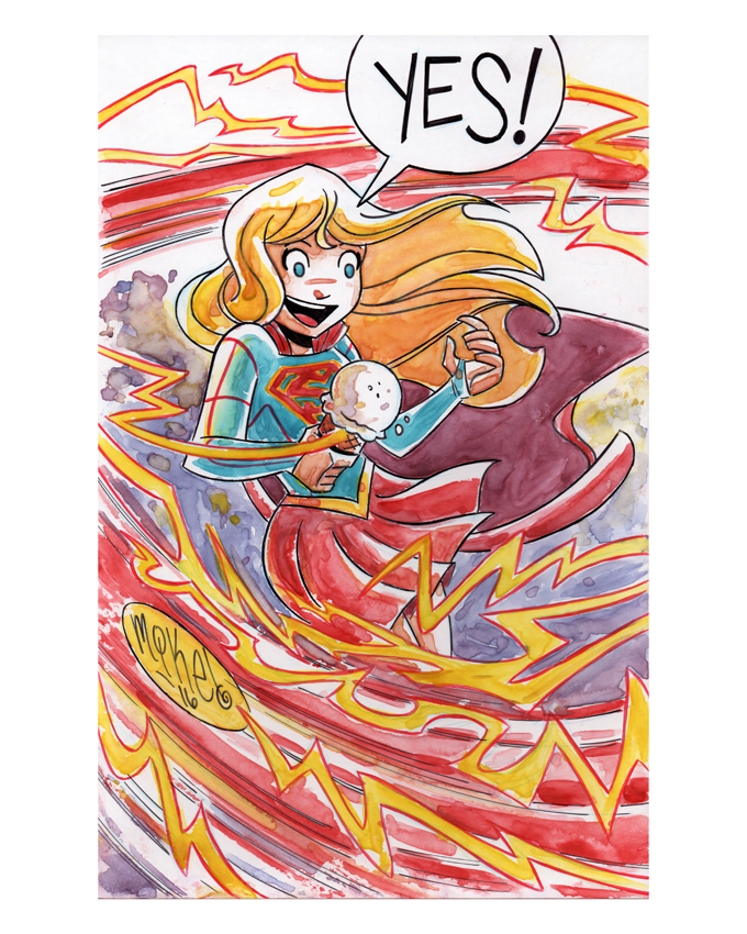 Image of Supergirl, The Flash, & Ice Cream