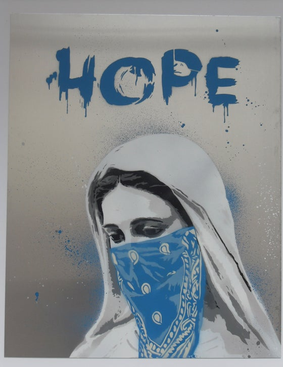 "Image of ALESSIO-B ""HOPE"" HAND SPRAYED ORIGINAL ON ALUMINIUM SHEET - 50CM X 40CM"