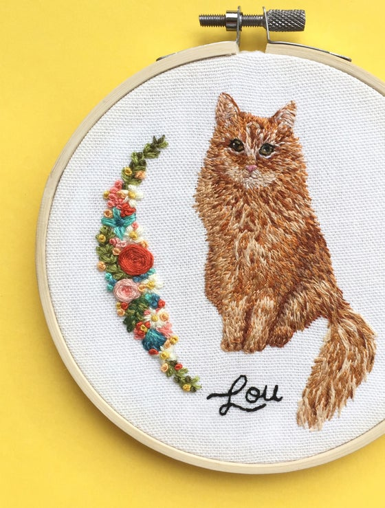 Image of Hand Embroidered Custom Pet Portrait