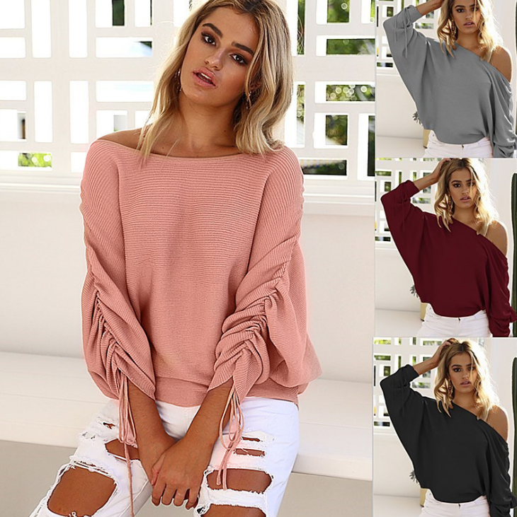 Image of New leisure and shoulder knit tops
