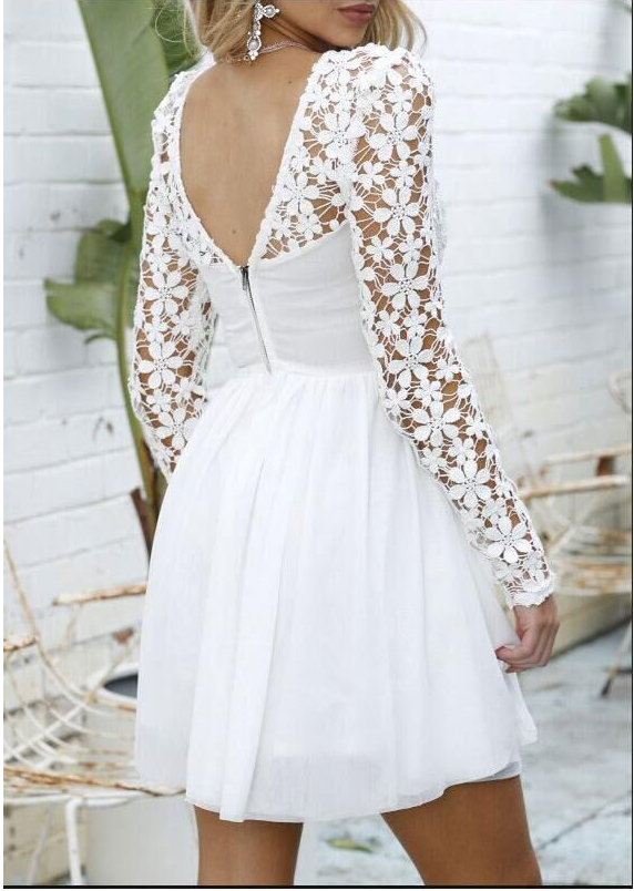 Image of New long sleeve lace back dress