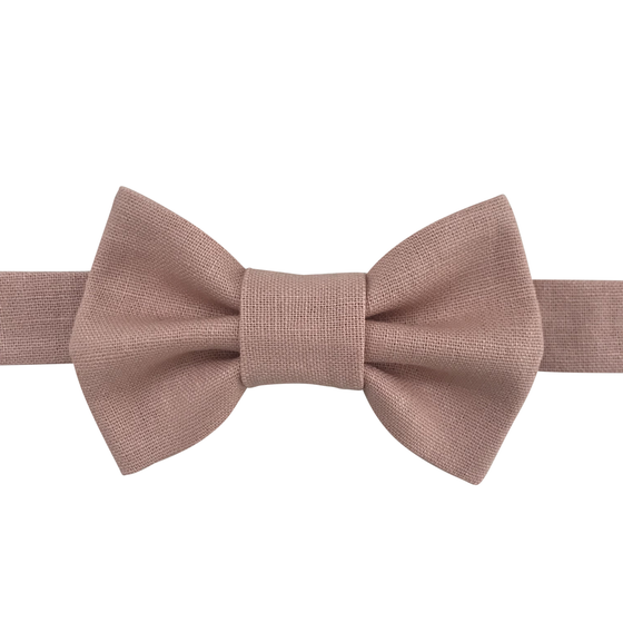 Image of blush linen bow tie