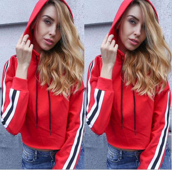 Image of Fashion stripe lace hooded jacket