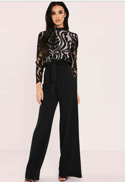 Image of Fashionable high-waisted straight tube lotus leaf casual pants