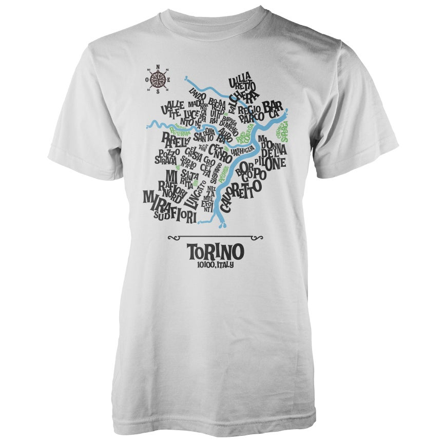 Image of Turin Typographic Map T-Shirt