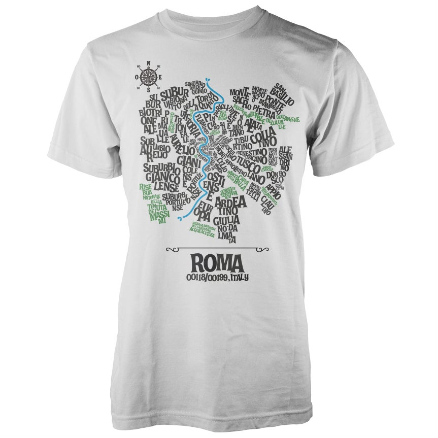 Image of Rome Typographic Map T-Shirt