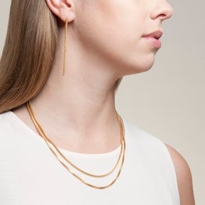 Image of Gold plated box chain short necklace