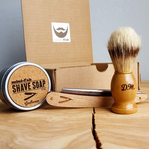 Image of Straight Razor Shave Kit - Personalized Set in a Gift Box with Shaving Brush, and Shave Soap