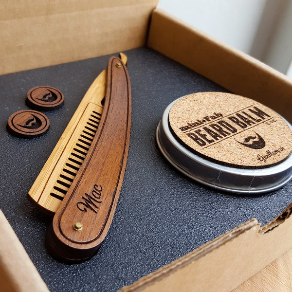 Image of Beard Comb, Balm & Cufflink Set - Personalized Straight Razor Wood Comb Kit - Beard Gift Set