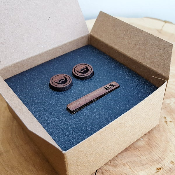 Image of Wood Cuff links & Tie Clip Set - Personalized Cufflinks with Tie Bar Gift Set - Gifts for Men