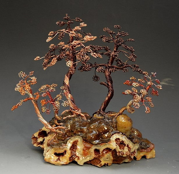 Image of Bonsai wire tree sculpture FOREST style -2241 - FREE SHIPPING