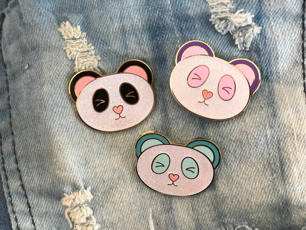 Image of Panda Glitter Enamel Pin