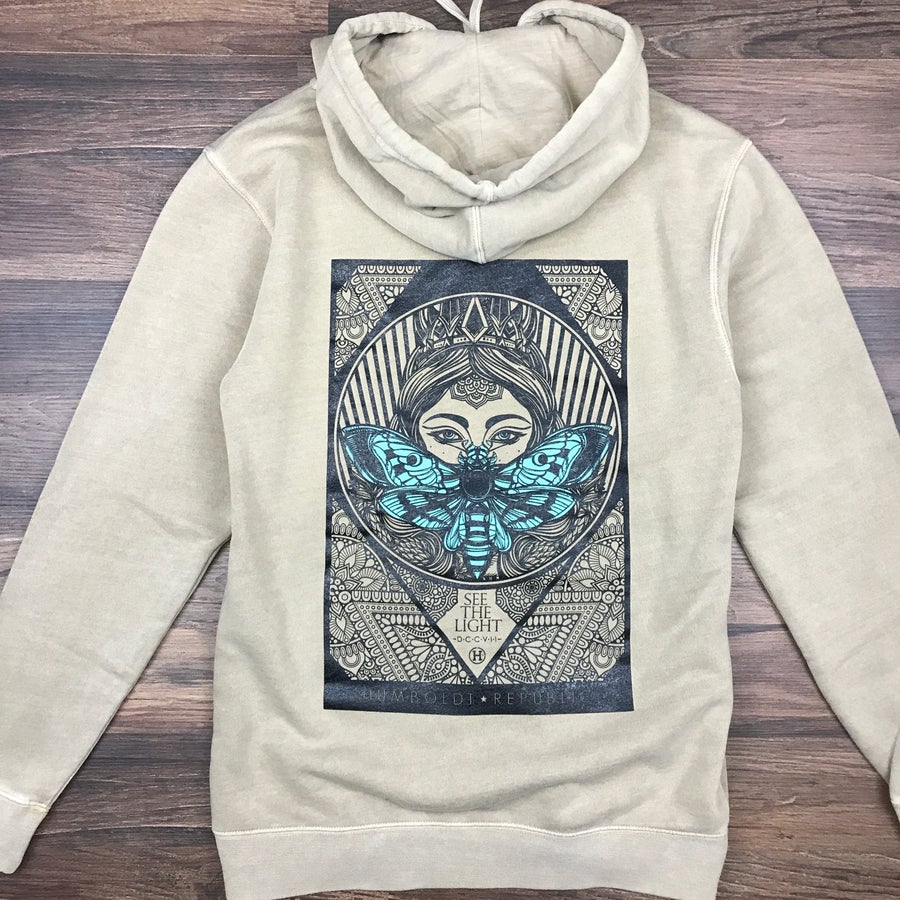 """Image of """"Like Moths To Flames"""" Unisex Mineral Wash Hoodie"""