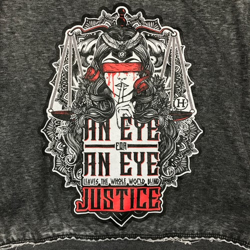 "Image of ""Eye For An Eye"" Ladies Distressed Crewneck Sweater"