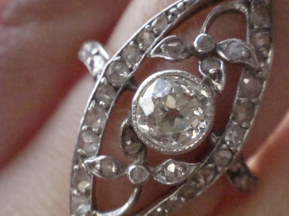 Image of EDWARDIAN 18CT OLD CUTT DIAMOND NAVETTE CLUSTER RING