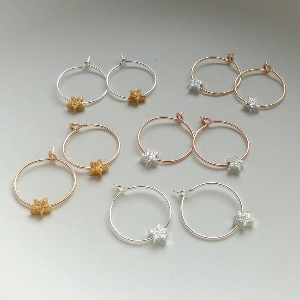 Image of Petite Star Hoop Earrings