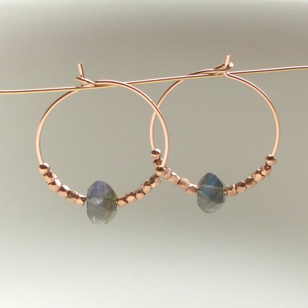 Image of Rose Gold And Labradorite Hoops