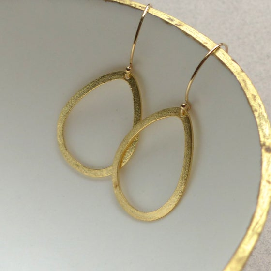 Image of Brushed Drop 35mm Earrings In Gold