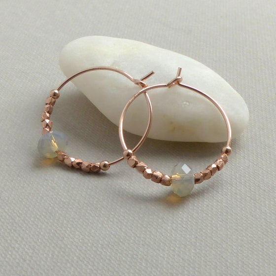 Image of Rose Gold Hoops Elaborated With Grey Swarovski Crystals
