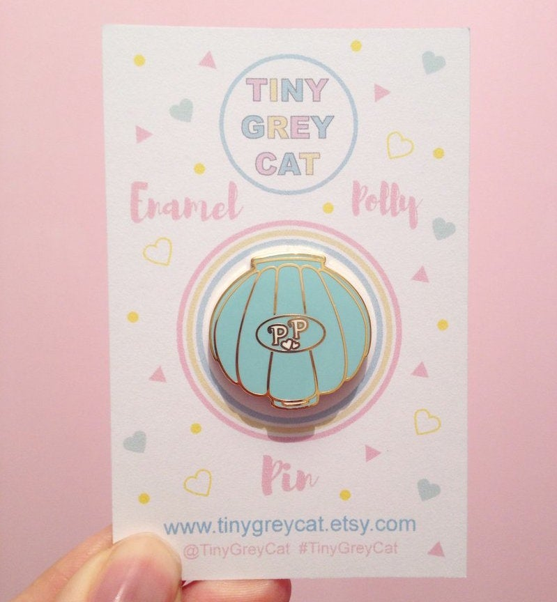 Image of Polly Seashell Compact Inspired Enamel Pin