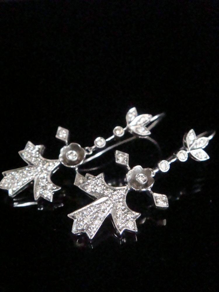 Image of EDWARDIAN 18CT DIAMOND ENCRUSTED DROP EARRINGS
