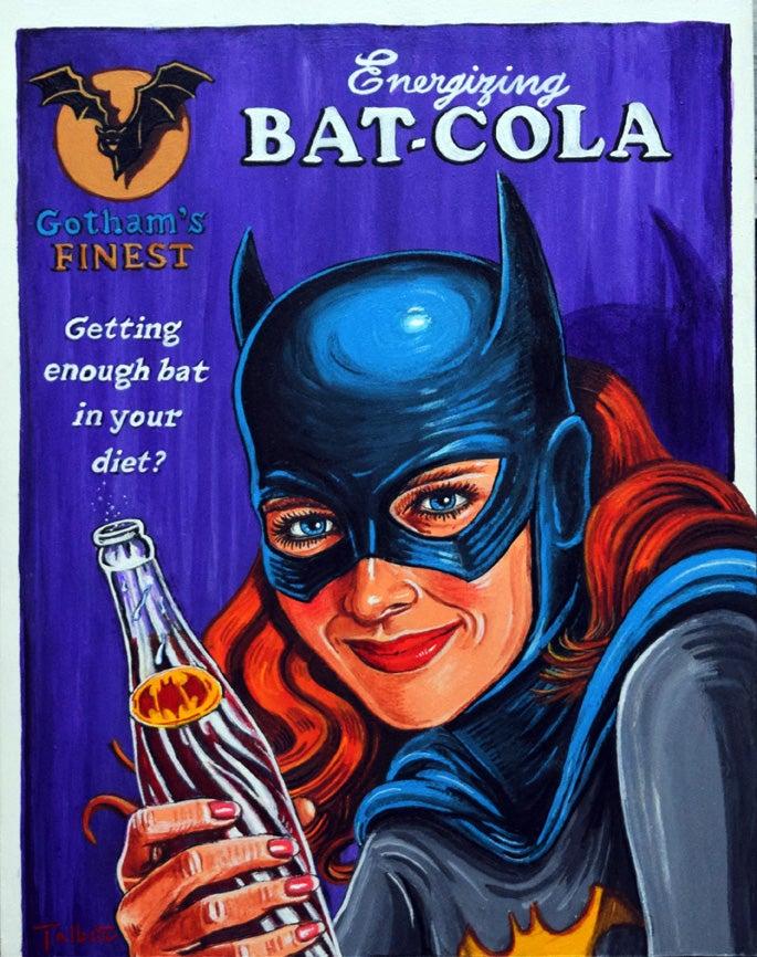 """Image of """"Energizing Bat-Cola"""" signed canvas print"""