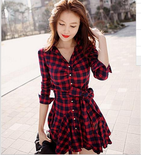 Image of Vintage checked long sleeve pleated shirt with a waist - bottom dress
