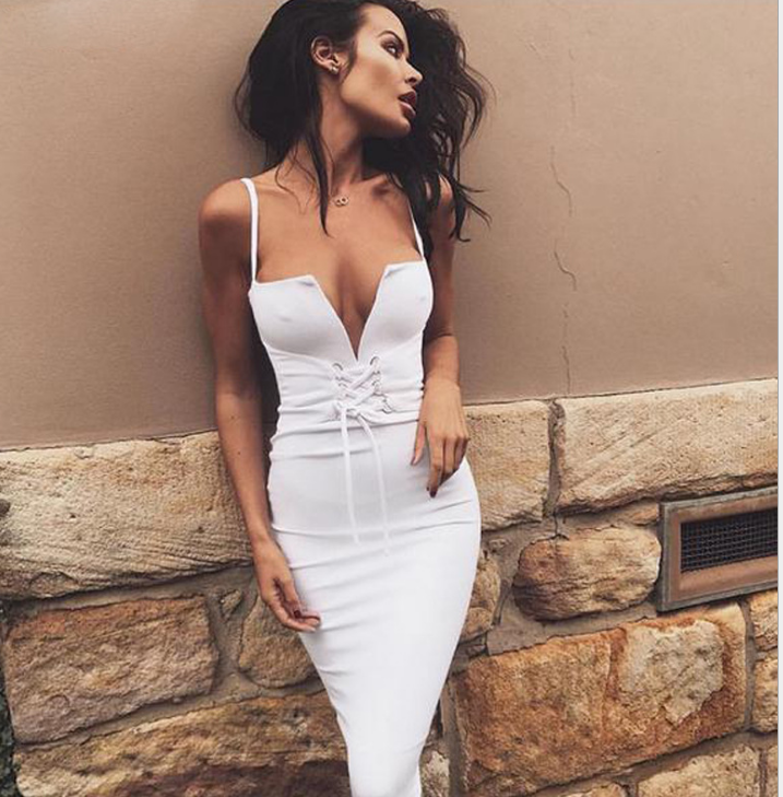 Image of Sleeveless deep V halter strap dress
