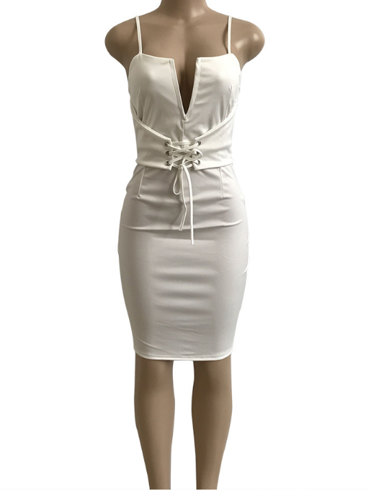 Image of Sleeveless deep V halter strap dress