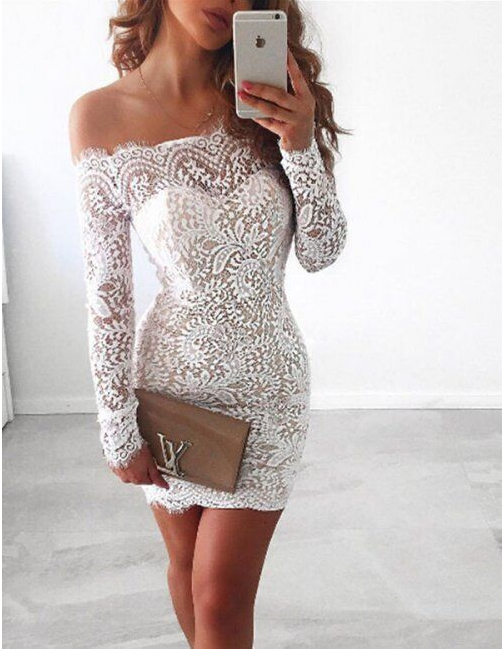 Image of Hot sell a lace clip with a long sleeve dress